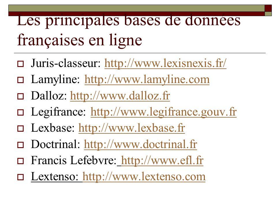 Les principales bases de données françaises en ligne Juris-classeur: http://www.lexisnexis.fr/http://www.lexisnexis.fr/ Lamyline: http://www.lamyline.