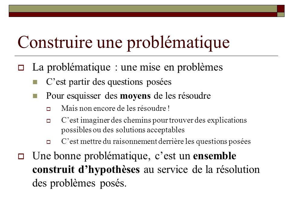 Construire une problématique La problématique : une mise en problèmes Cest partir des questions posées Pour esquisser des moyens de les résoudre Mais