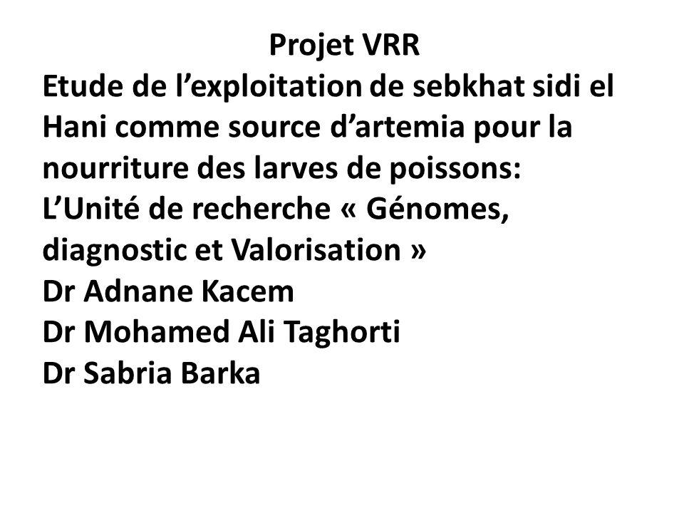 Projet VRR Etude de lexploitation de sebkhat sidi el Hani comme source dartemia pour la nourriture des larves de poissons: LUnité de recherche « Génom