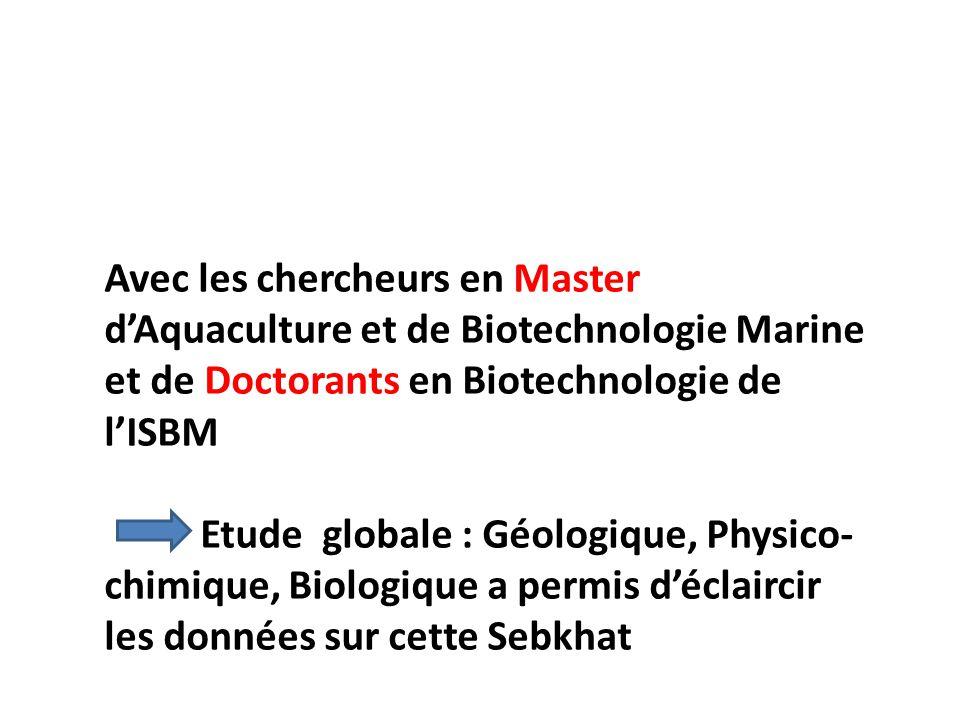 Avec les chercheurs en Master dAquaculture et de Biotechnologie Marine et de Doctorants en Biotechnologie de lISBM Etude globale : Géologique, Physico
