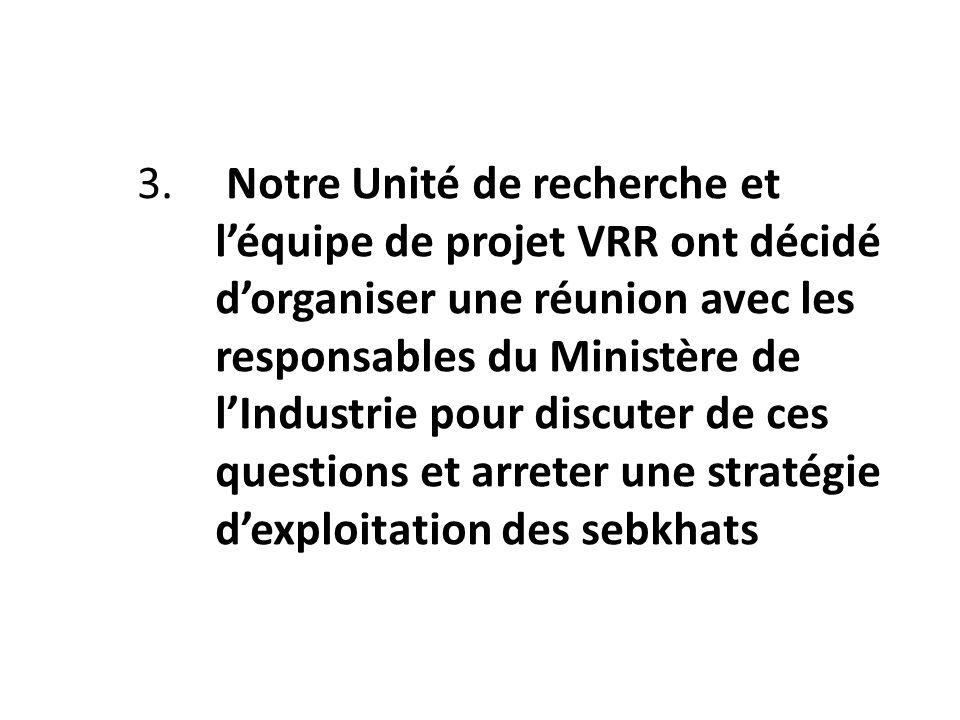 3. Notre Unité de recherche et léquipe de projet VRR ont décidé dorganiser une réunion avec les responsables du Ministère de lIndustrie pour discuter