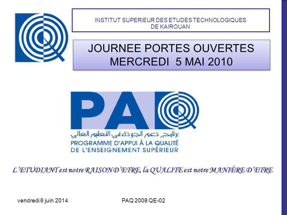 vendredi 6 juin 2014PAQ 2008 QE-02 JOURNEE PORTES OUVERTES MERCREDI 5 MAI 2010 INSTITUT SUPERIEUR DES ETUDES TECHNOLOGIQUES DE KAIROUAN LETUDIANT est notre RAISON DETRE, la QUALITE est notre MANIÈRE DETRE