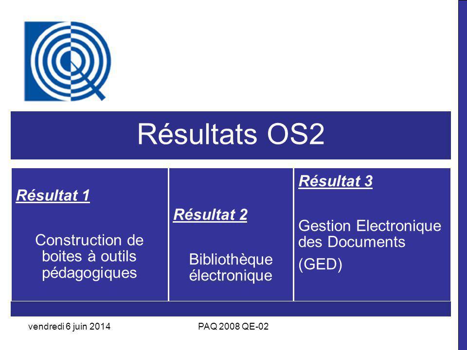 Résultats OS2 Résultat 1 Construction de boites à outils pédagogiques Résultat 2 Bibliothèque électronique Résultat 3 Gestion Electronique des Documents (GED) vendredi 6 juin 2014PAQ 2008 QE-02