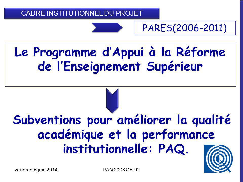 Subventions pour améliorer la qualité académique et la performance institutionnelle: PAQ.