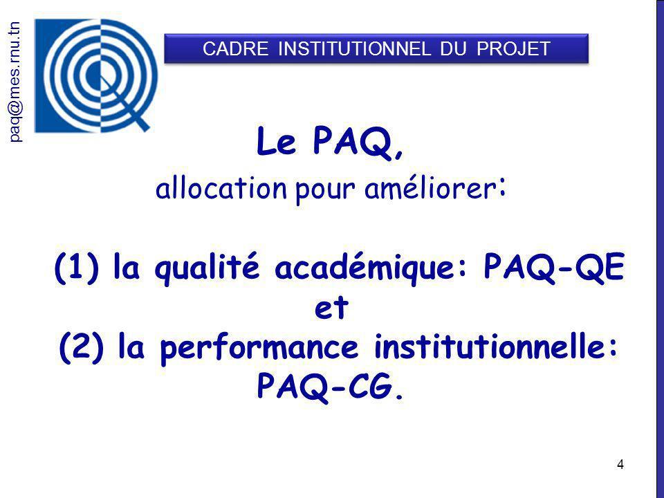 4 Le PAQ, allocation pour améliorer : (1) la qualité académique: PAQ-QE et (2) la performance institutionnelle: PAQ-CG.