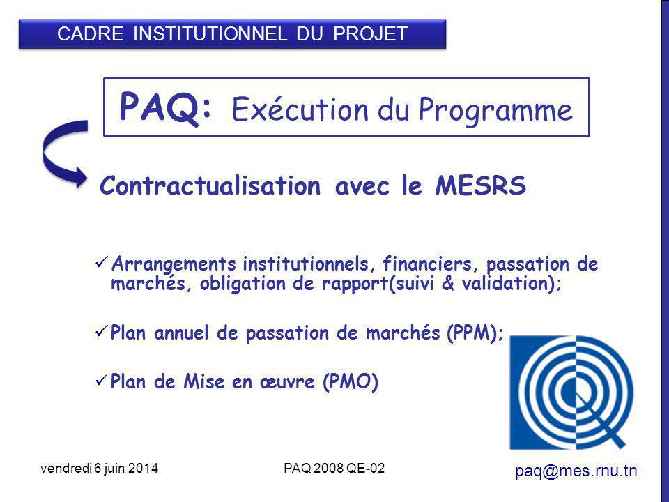 PAQ: Exécution du Programme paq@mes.rnu.tn Contractualisation avec le MESRS Arrangements institutionnels, financiers, passation de marchés, obligation de rapport(suivi & validation); Plan annuel de passation de marchés (PPM); Plan de Mise en œuvre (PMO) vendredi 6 juin 2014PAQ 2008 QE-02 CADRE INSTITUTIONNEL DU PROJET