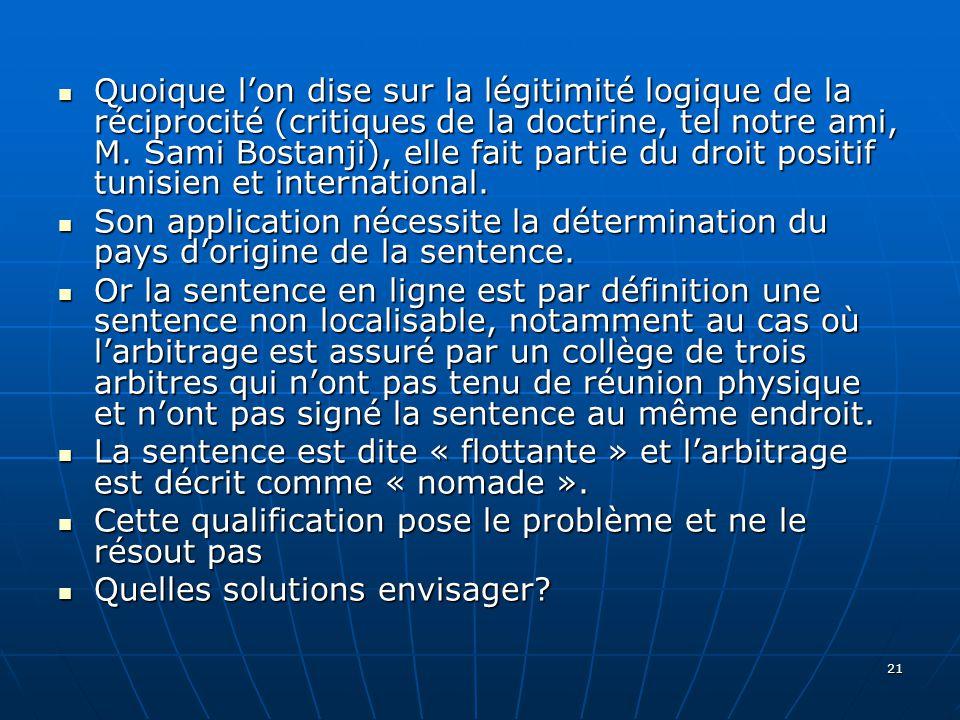 21 Quoique lon dise sur la légitimité logique de la réciprocité (critiques de la doctrine, tel notre ami, M.