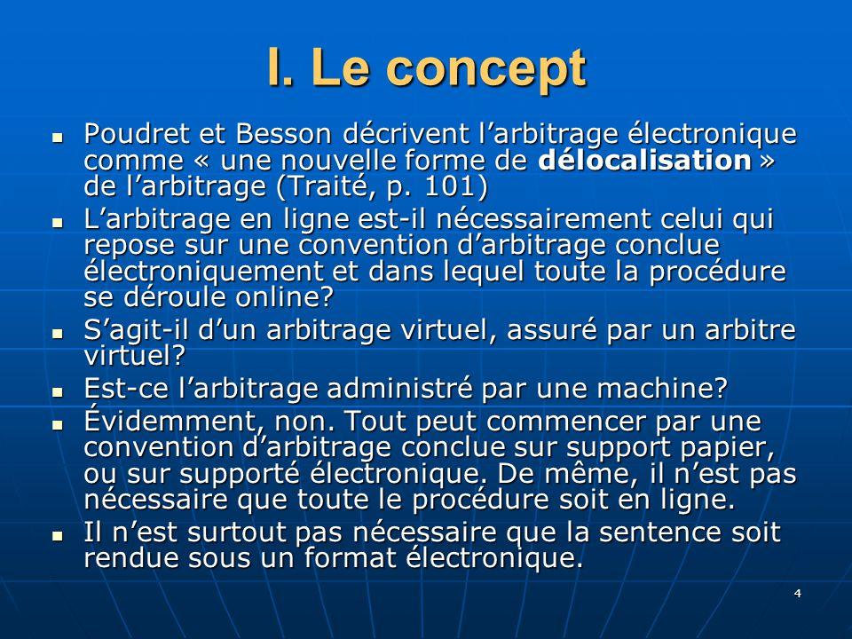 4 I. Le concept Poudret et Besson décrivent larbitrage électronique comme « une nouvelle forme de délocalisation » de larbitrage (Traité, p. 101) Poud
