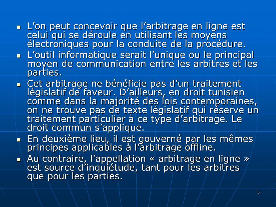 26 Conclusion Pour le moment, peu de gens croient que larbitrage en ligne puisse devenir une réalité en Tunisie.