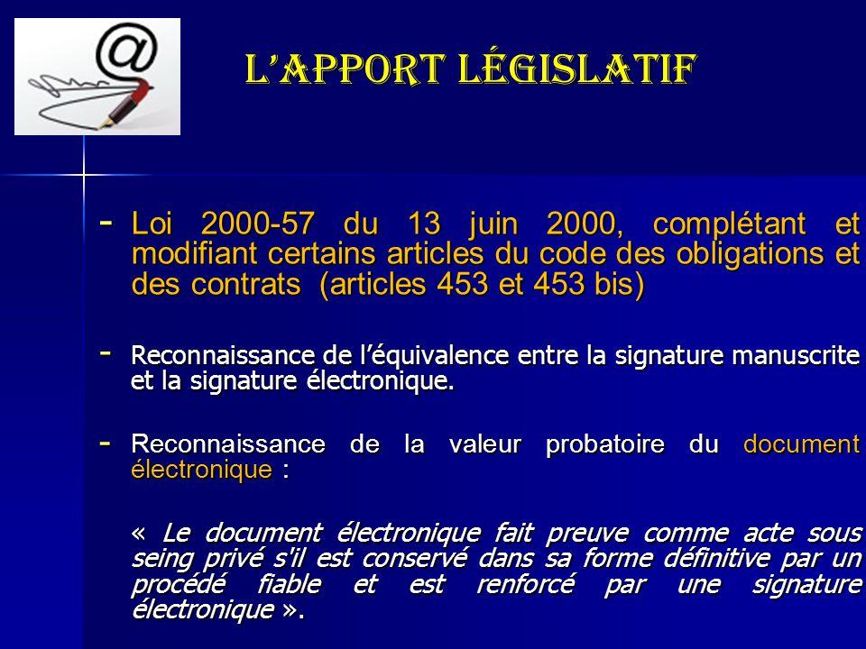 LApport législatif - Loi 2000-57 du 13 juin 2000, complétant et modifiant certains articles du code des obligations et des contrats (articles 453 et 4