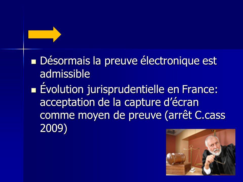 Désormais la preuve électronique est admissible Désormais la preuve électronique est admissible Évolution jurisprudentielle en France: acceptation de