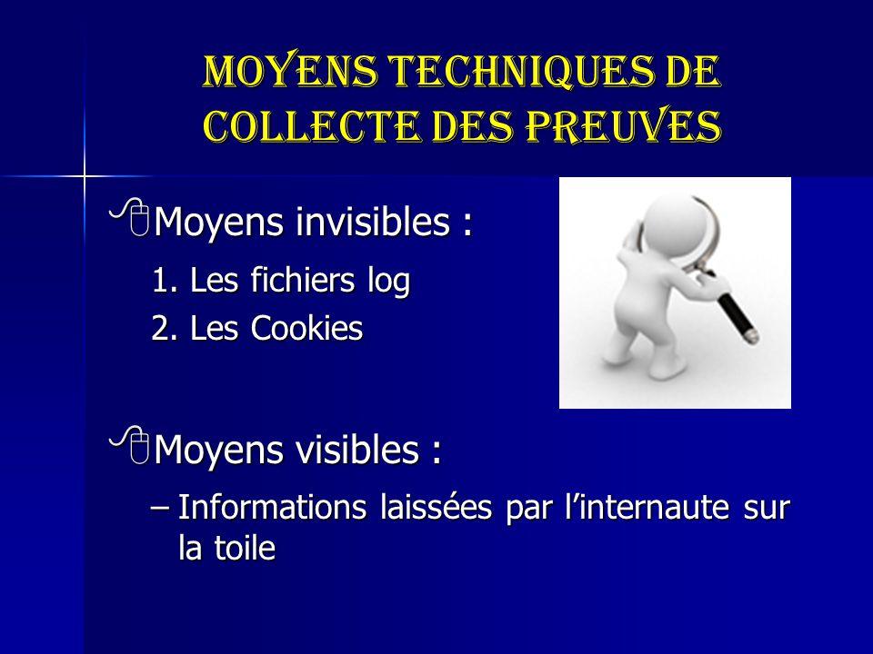 Moyens techniques de collecte des preuves Moyens invisibles : Moyens invisibles : 1. Les fichiers log 2. Les Cookies Moyens visibles : Moyens visibles