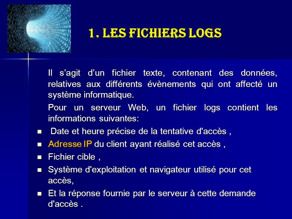 1. Les fichiers logs Il sagit dun fichier texte, contenant des données, relatives aux différents évènements qui ont affecté un système informatique. P