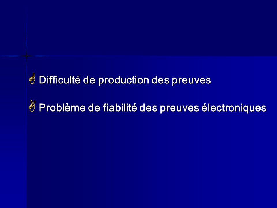 Difficulté de production des preuves Difficulté de production des preuves Problème de fiabilité des preuves électroniques Problème de fiabilité des pr