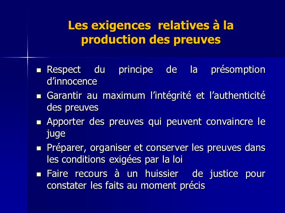 Les exigences relatives à la production des preuves Respect du principe de la présomption dinnocence Respect du principe de la présomption dinnocence
