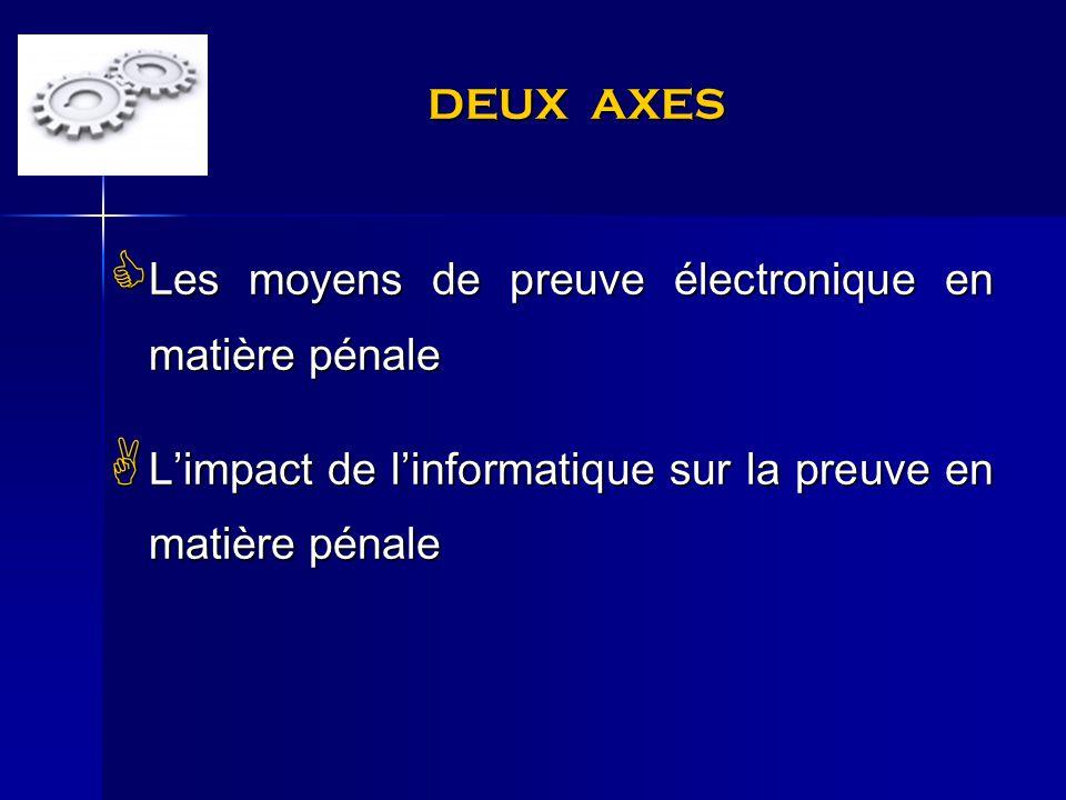 DEUX AXES Les moyens de preuve électronique en matière pénale Les moyens de preuve électronique en matière pénale Limpact de linformatique sur la preu