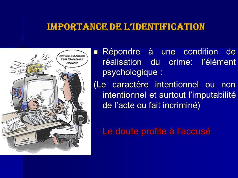 Importance de lidentification Répondre à une condition de réalisation du crime: lélément psychologique : Répondre à une condition de réalisation du cr