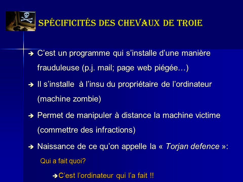 Spécificités des chevaux de Troie Cest un programme qui sinstalle dune manière frauduleuse (p.j. mail; page web piégée…) Cest un programme qui sinstal