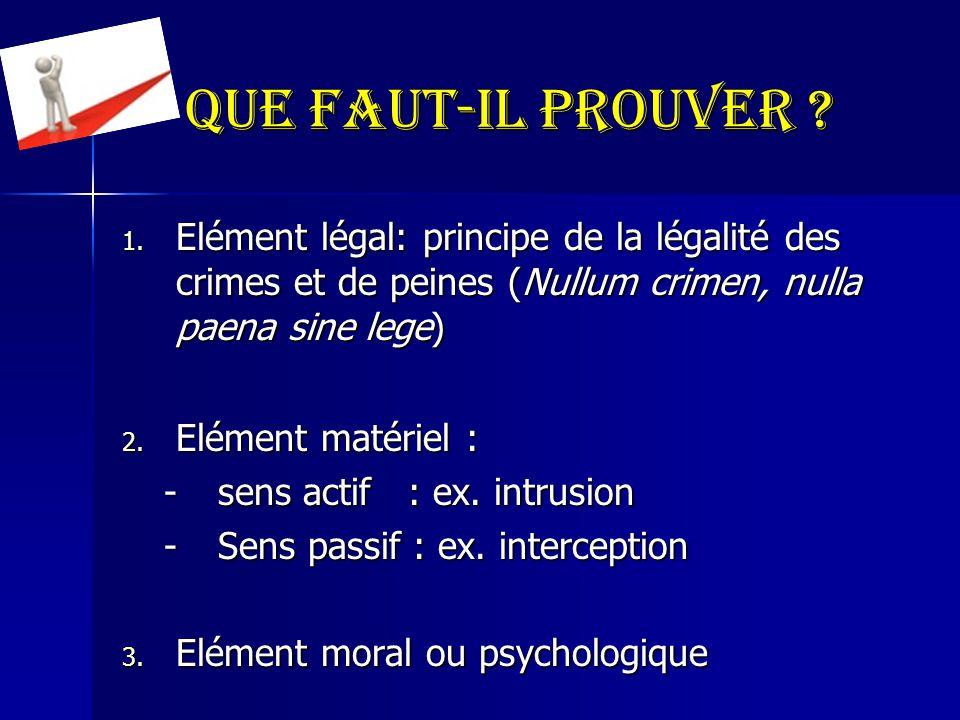 Que faut-il prouver ? 1. Elément légal: principe de la légalité des crimes et de peines (Nullum crimen, nulla paena sine lege) 2. Elément matériel : -