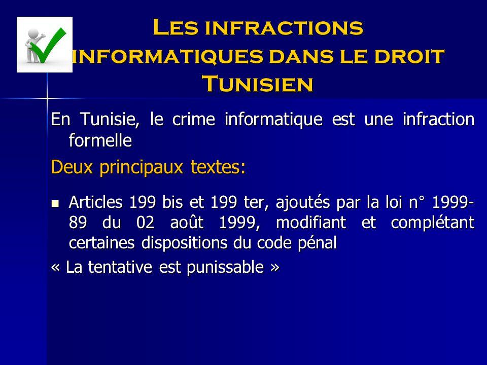 Les infractions informatiques dans le droit Tunisien En Tunisie, le crime informatique est une infraction formelle Deux principaux textes: Articles 19