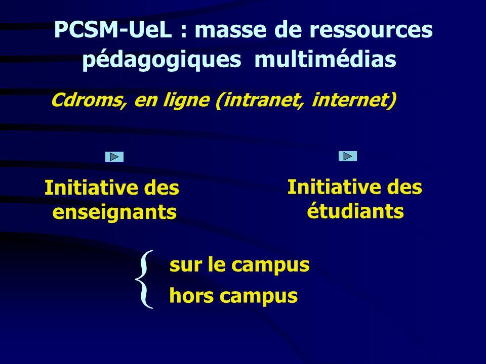 PCSM-UeL : masse de ressources Cdroms, en ligne (intranet, internet) Initiative des enseignants sur le campus hors campus pédagogiques Initiative des