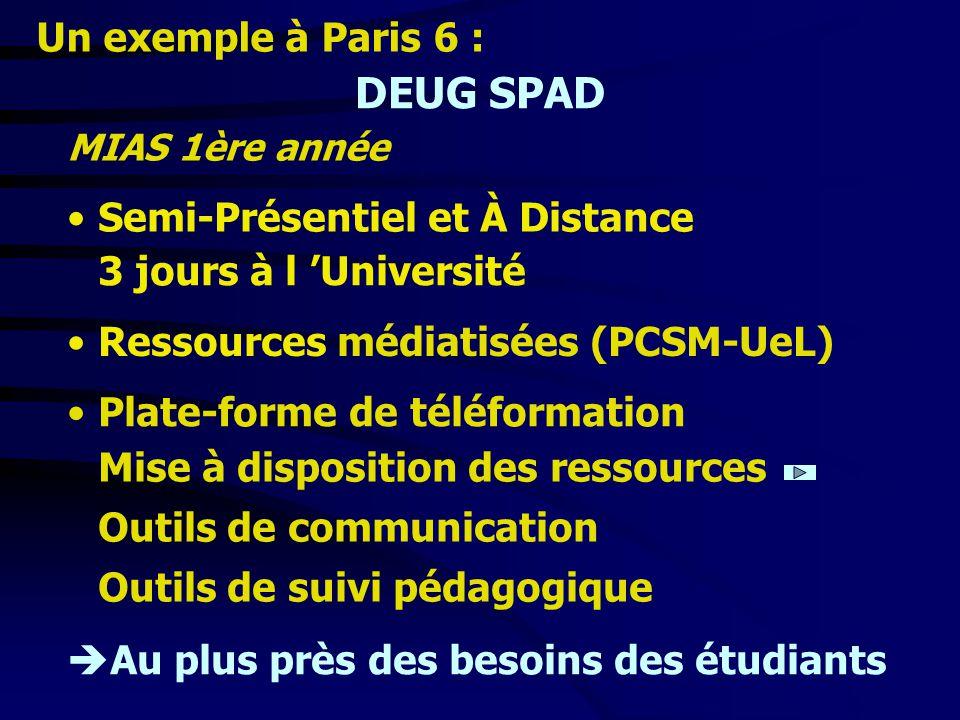DEUG SPAD Semi-Présentiel et À Distance MIAS 1ère année 3 jours à l Université Ressources médiatisées (PCSM-UeL) Plate-forme de téléformation Mise à d