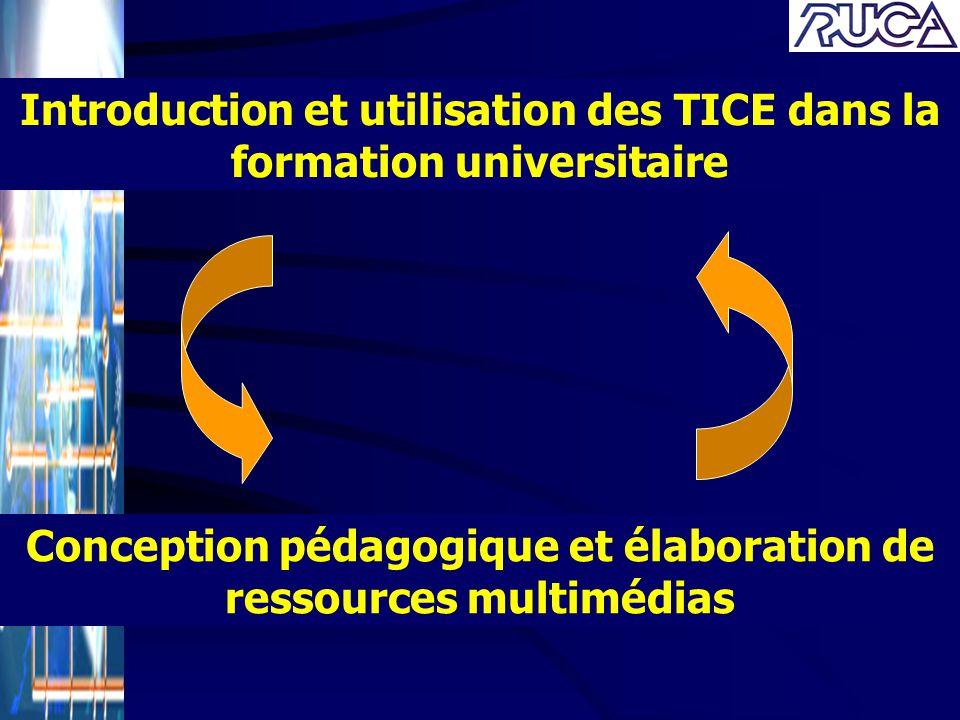 Conception pédagogique et élaboration de ressources multimédias Introduction et utilisation des TICE dans la formation universitaire