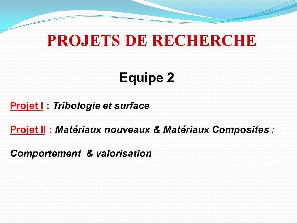 Equipe 2 Projet I : Tribologie et surface Projet II : Matériaux nouveaux & Matériaux Composites : Comportement & valorisation PROJETS DE RECHERCHE