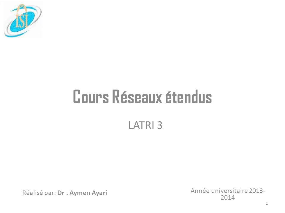 Année universitaire 2013- 2014 Réalisé par: Dr. Aymen Ayari Cours Réseaux étendus LATRI 3 1
