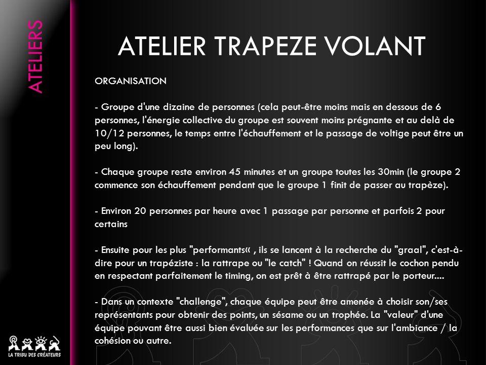 ATELIER TRAPEZE VOLANT ORGANISATION - Groupe d'une dizaine de personnes (cela peut-être moins mais en dessous de 6 personnes, l'énergie collective du