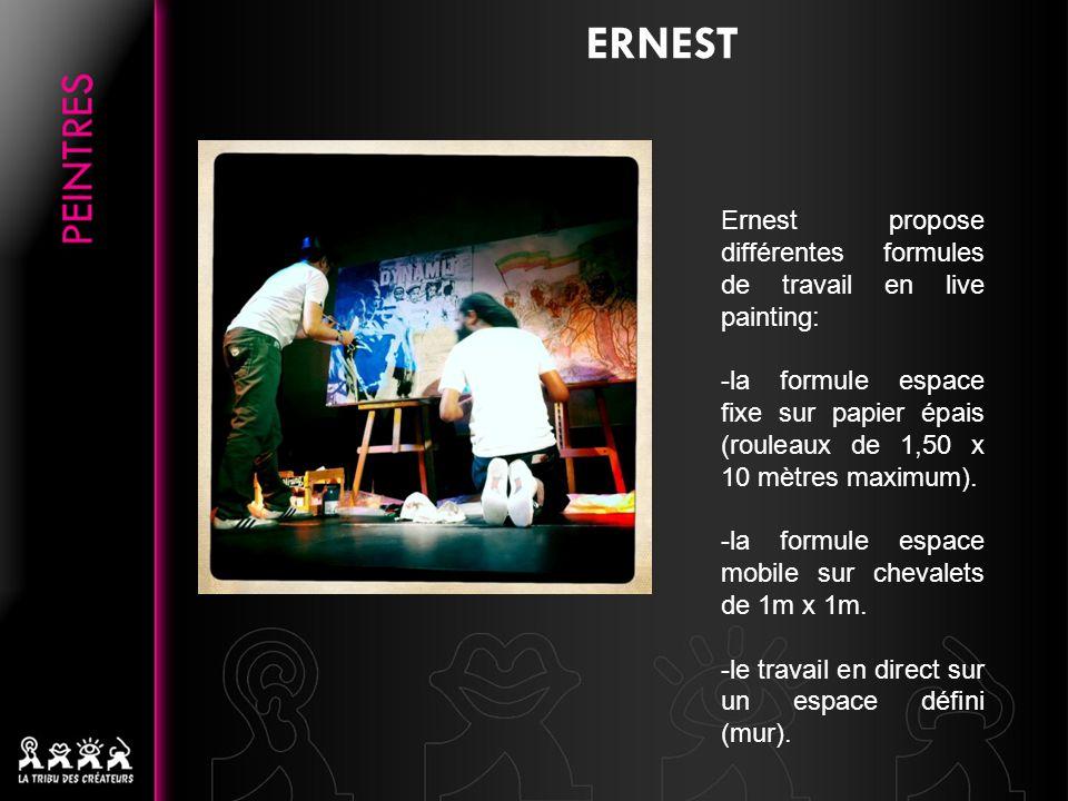ERNEST Ernest propose différentes formules de travail en live painting: -la formule espace fixe sur papier épais (rouleaux de 1,50 x 10 mètres maximum).