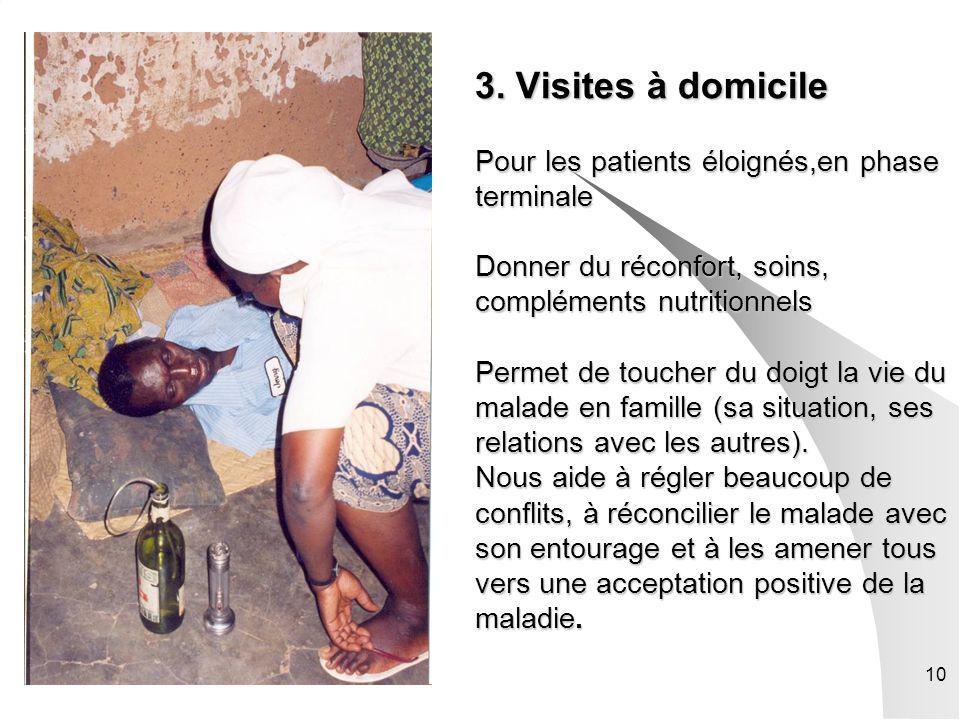 10 3. Visites à domicile Pour les patients éloignés,en phase terminale Donner du réconfort, soins, compléments nutritionnels Permet de toucher du doig