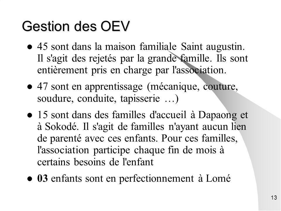 13 Gestion des OEV 45 sont dans la maison familiale Saint augustin. Il s'agit des rejetés par la grande famille. Ils sont entièrement pris en charge p