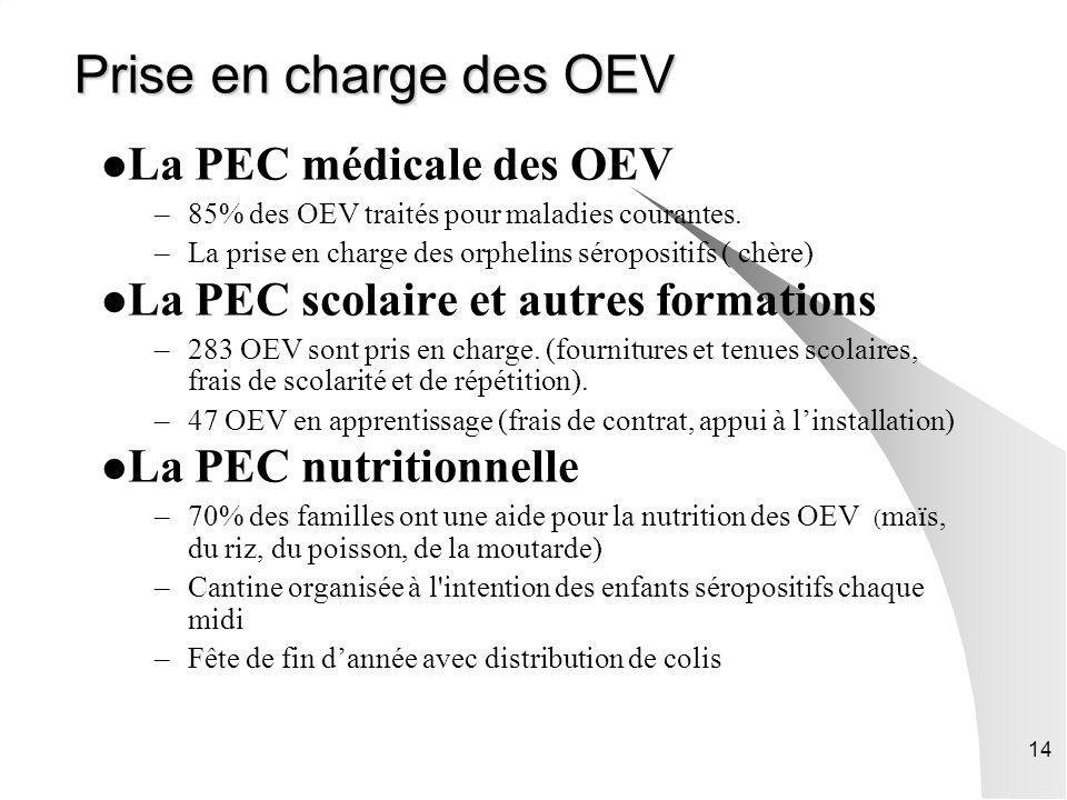 14 Prise en charge des OEV La PEC médicale des OEV –85% des OEV traités pour maladies courantes. –La prise en charge des orphelins séropositifs ( chèr