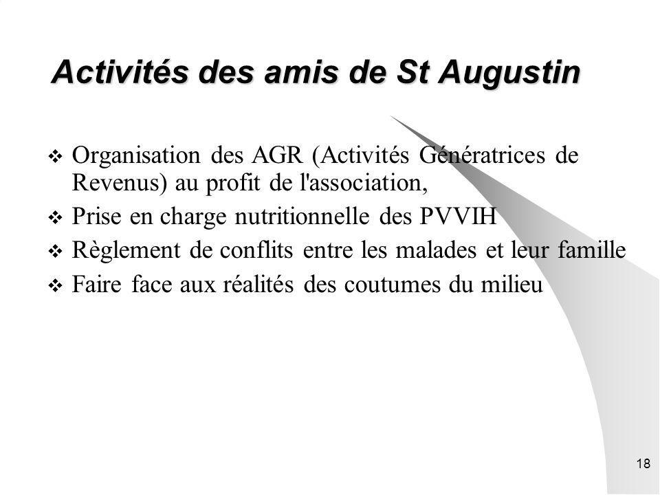 18 Activités des amis de St Augustin Organisation des AGR (Activités Génératrices de Revenus) au profit de l'association, Prise en charge nutritionnel