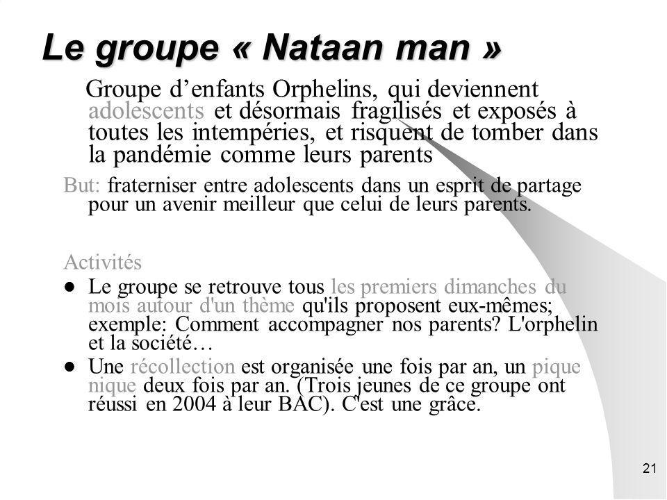 21 Le groupe « Nataan man » Groupe denfants Orphelins, qui deviennent adolescents et désormais fragilisés et exposés à toutes les intempéries, et risq