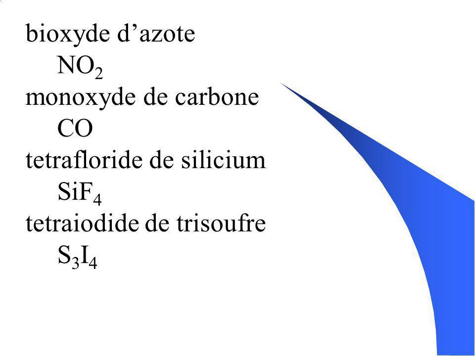 Écrire les formules daprès les noms: Pour les composés binaires: ( basé sur la formule chimique ) 1. Écris les symboles corespondants aux élément dans