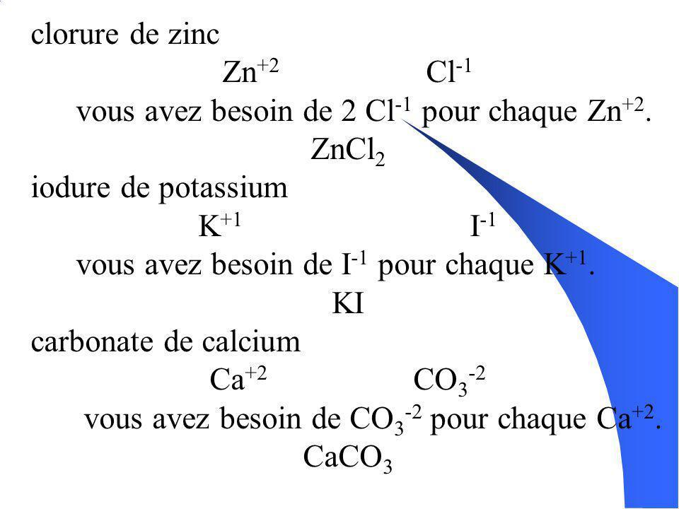 Écrire les formules daprès les noms: Pour les composés binaires: 1. Écris les symboles corespondants aux élément dans lordre inverse du nom. 2. Indiqu