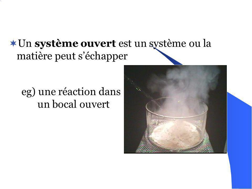 Un système fermé est un système ou la matière ne peut pas séchapper eg) une réaction dans un fiole fermé