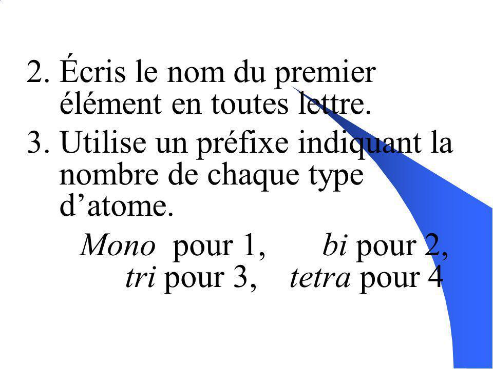 Nomenclature des composé moléculaires: Pour les composés binaires: ( basé sur la formule chimique ) 1. Écris le nom du deuxième élément en remplacant