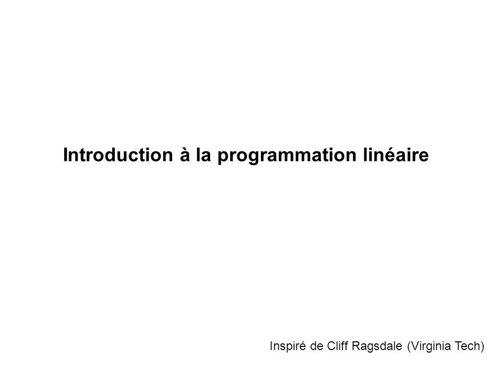 La programmation linéaire peut être définie comme étant une méthode qui permet dallouer de façon optimale des ressources disponibles en quantités limitées à des activités compétitrices.