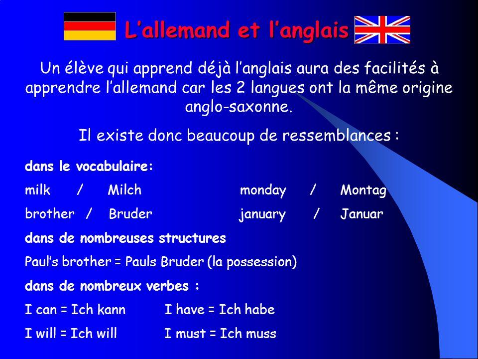 III. Lallemand, langlais et le français Lallemand, langlais et le français sont 3 langues très complémentaires avec lesquelles on peut faire des passe