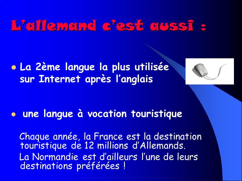 La 2ème langue économique dans les échanges commerciaux LAllemagne est le 1 er partenaire économique de la France (1 er fournisseur et 1 er client) et