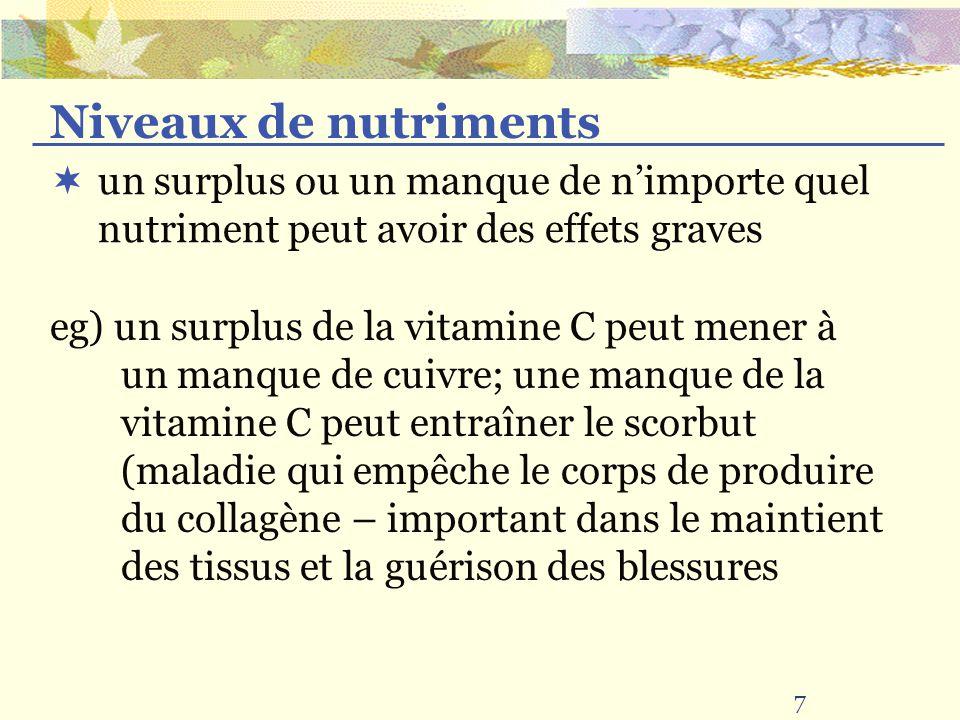 7 un surplus ou un manque de nimporte quel nutriment peut avoir des effets graves Niveaux de nutriments eg) un surplus de la vitamine C peut mener à u
