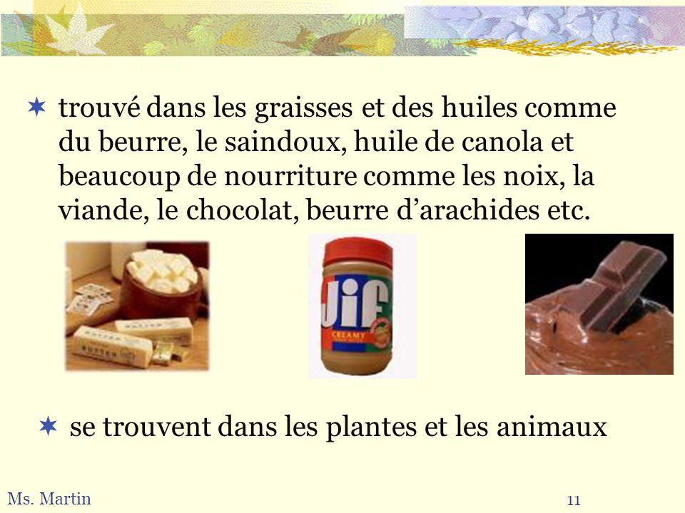 11 Ms. Martin se trouvent dans les plantes et les animaux trouvé dans les graisses et des huiles comme du beurre, le saindoux, huile de canola et beau
