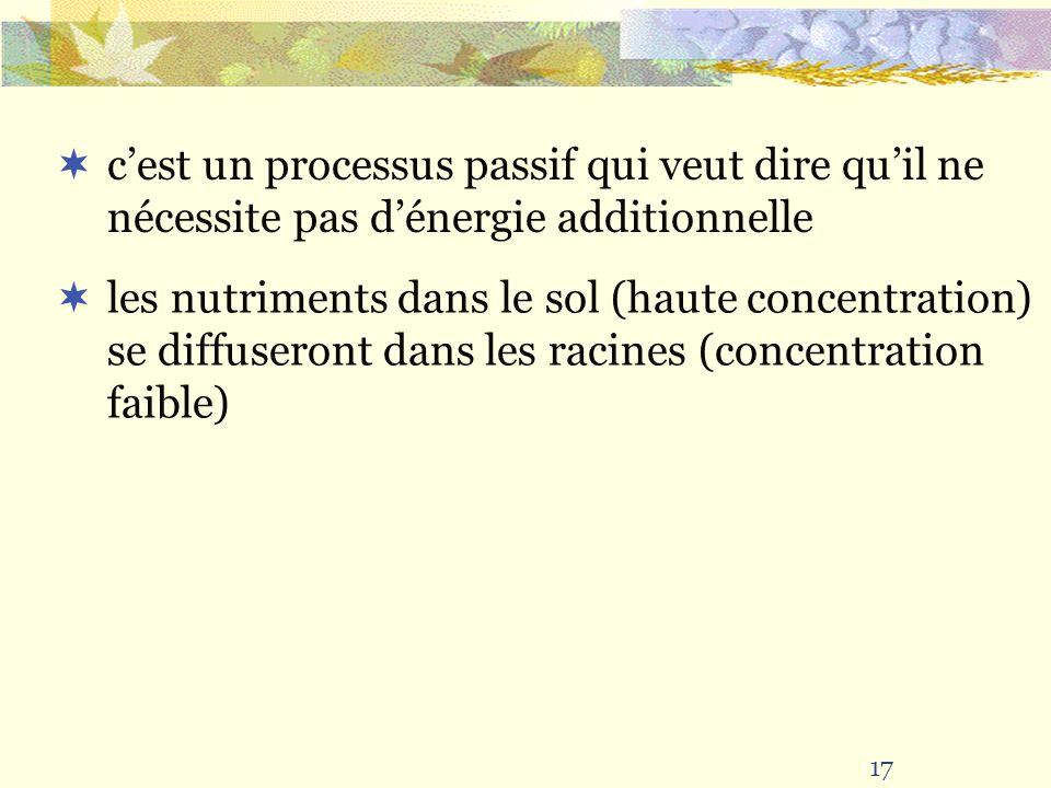17 cest un processus passif qui veut dire quil ne nécessite pas dénergie additionnelle les nutriments dans le sol (haute concentration) se diffuseront