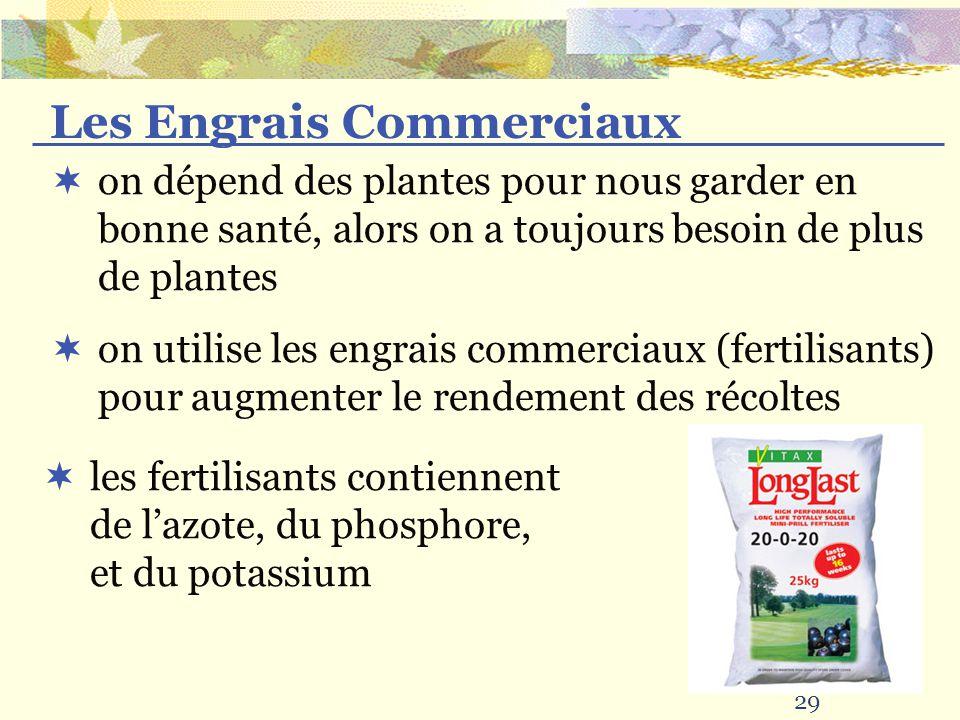 29 Les Engrais Commerciaux on dépend des plantes pour nous garder en bonne santé, alors on a toujours besoin de plus de plantes on utilise les engrais commerciaux (fertilisants) pour augmenter le rendement des récoltes les fertilisants contiennent de lazote, du phosphore, et du potassium