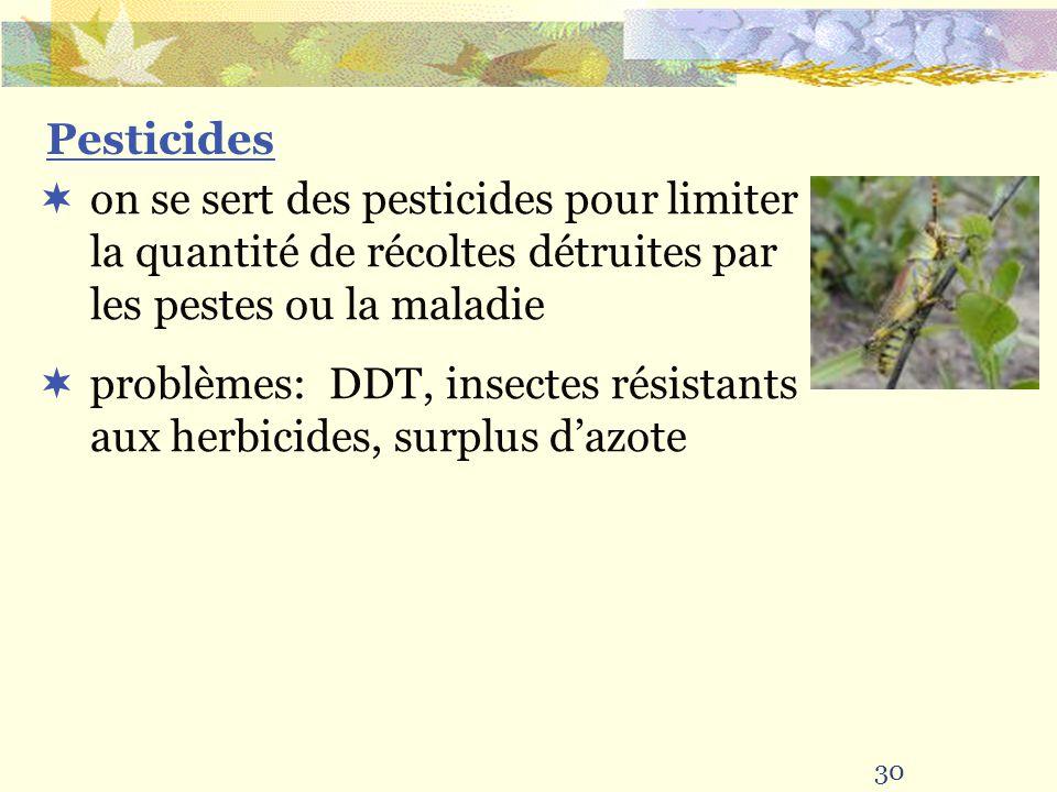 30 Pesticides on se sert des pesticides pour limiter la quantité de récoltes détruites par les pestes ou la maladie problèmes: DDT, insectes résistants aux herbicides, surplus dazote