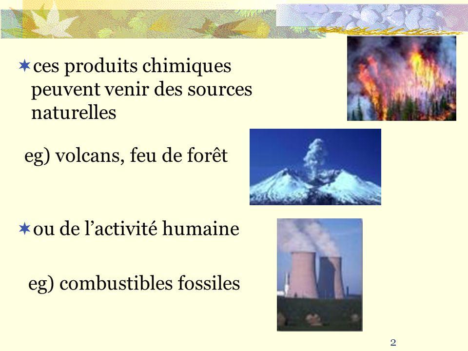 2 ces produits chimiques peuvent venir des sources naturelles eg) volcans, feu de forêt ou de lactivité humaine eg) combustibles fossiles
