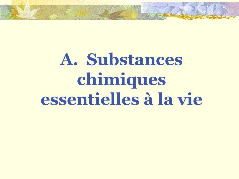 A. Substances chimiques essentielles à la vie